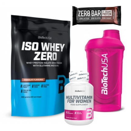 BioTech Iso Whey Zero 500g + Multivitamin for women + Zero Bar + Shaker pink